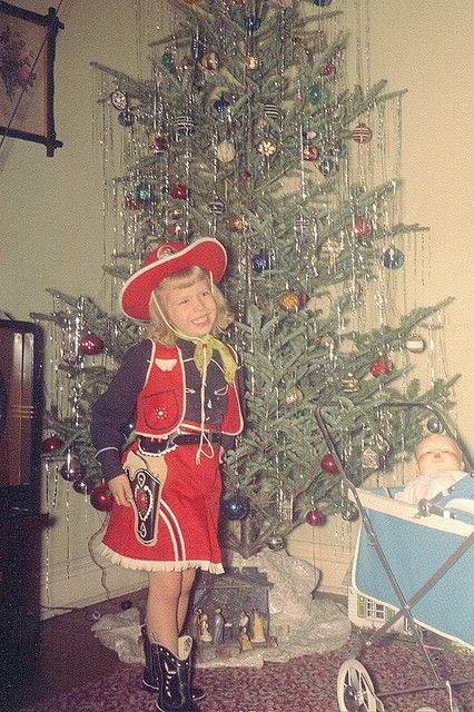 What an adorable Christmastime cowgirl. #vintage #Western #cowgirl #Christmas #costume