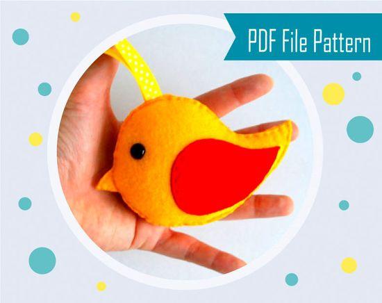 Felt bird Toy - Felt Christmas Ornament -