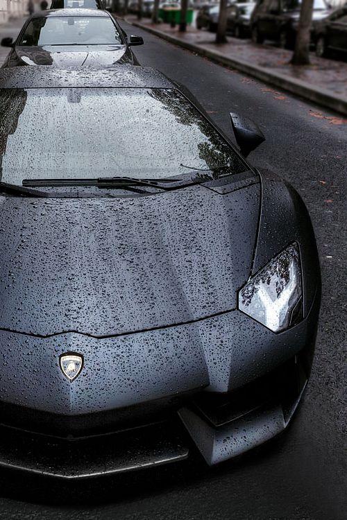 Matte Black Aventador in the rain.