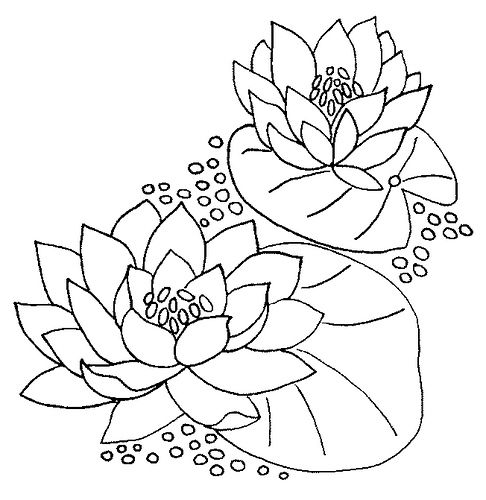 Embroidery pattern water lily