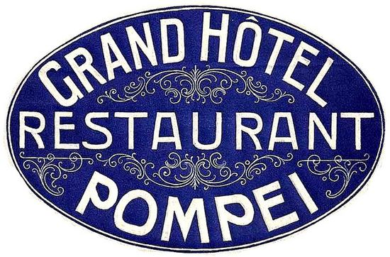 Grand Hotel Pompei Italy Luggage Label