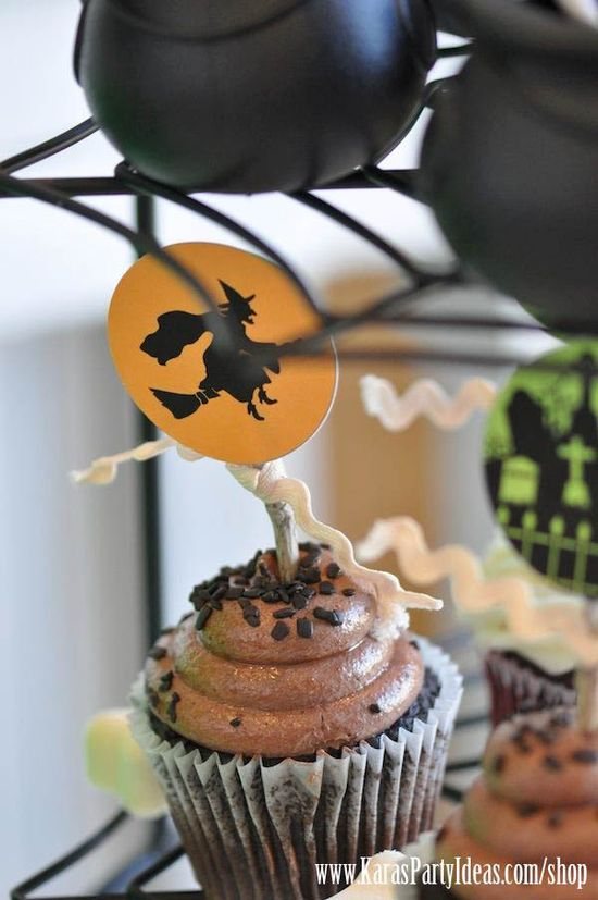 Cute printable cupcake toppers! Witches Ball Halloween Party via Kara's Party Ideas - www.KarasPartyIde...