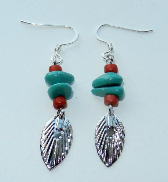 Dark Silver Leaves with Berry Red and by CloudNineDesignz on Etsy, $14.00