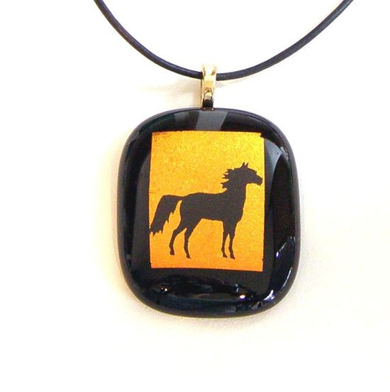Fused Glass Pendant Necklace Black Horse on Orange Gold Dichroic Glass by GreenhouseGlassworks, $20.00 #jewelry #glass #horse