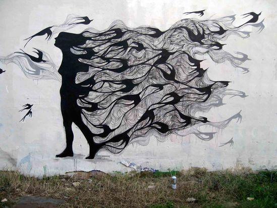 #birds #girl #graffiti