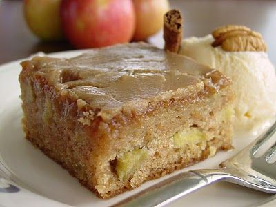 Apple Cake with Caramel Brown Sugar Glaze.