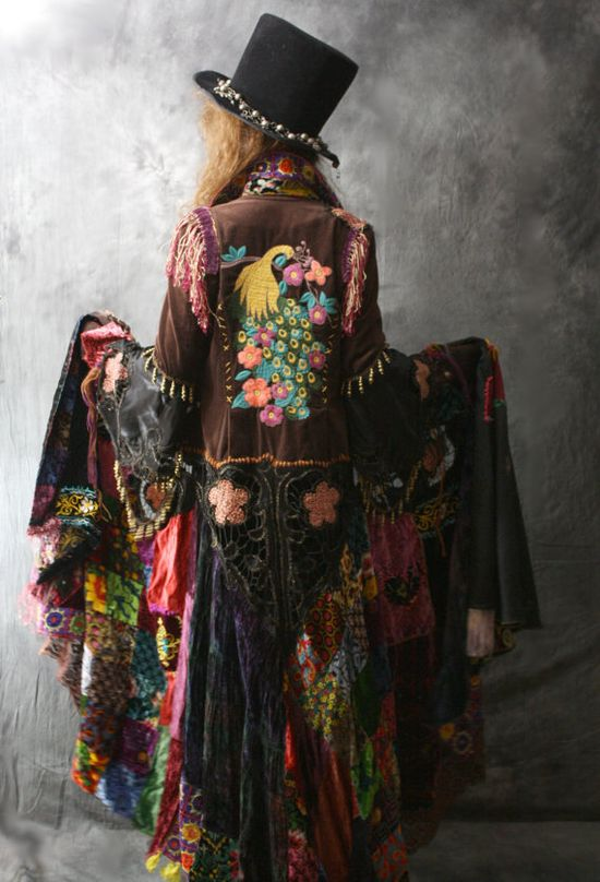 Vintage Magical Hippie Gypsy  Fairy Tale Coat Reconstructed Embroidered Patchwork Velvet