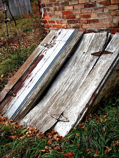 storm cellar stairs outside the house