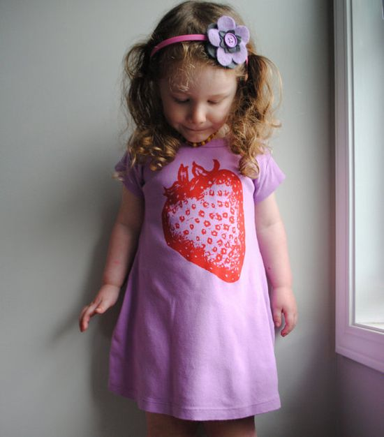 Strawberry T-shirt dress $28 Etsy