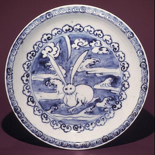 Dish with Design of Hare in Clouds  Period: Edo period (1615–1868) Date: ca. 1624–43 Culture: Japan Medium: Porcelain with underglaze blue (Hizen ware, early Imari type) Dimensions: H. 7/8 in. (2.2 cm); D. 8 1/8 in. (20.7 cm) Classification: Ceramic