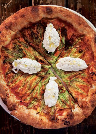 squash blossom pizza • saveur
