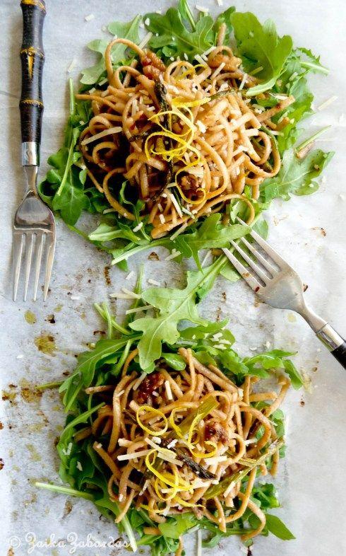 via Spring pasta with lemony, garlicky, buttery walnut sauce