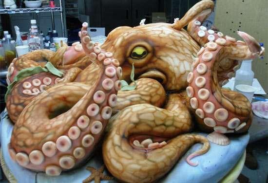 Octopus Cakes -  Karen Portaleo Makes Creative Cakes for Highland Bakery   #cakes #baking #yolo? #octopus #calamari #squid #seafood #icing #food #treats #desert  cool, this is beautiful.