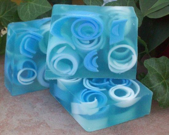 Raindrops Glycerin soap Handmade blue swirly fresh by CoquetteBath, $4.50