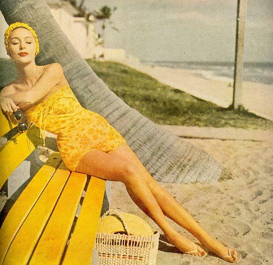 yellow bathing suit, 1950s