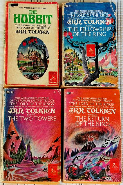 old school book covers of Tolkein books.