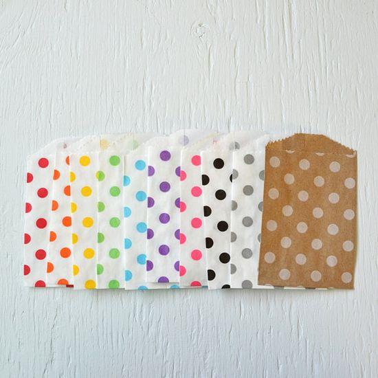 25 small KRAFT polka dot paper gift or favor by PaperAndPresent