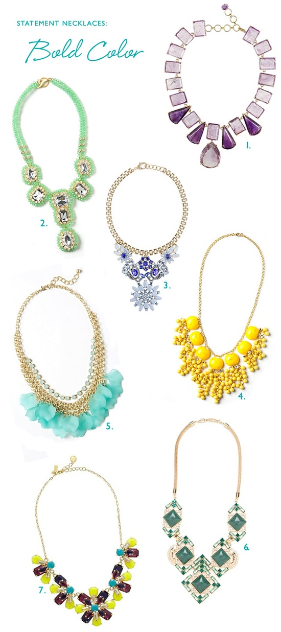 Bold and colorful statement necklaces