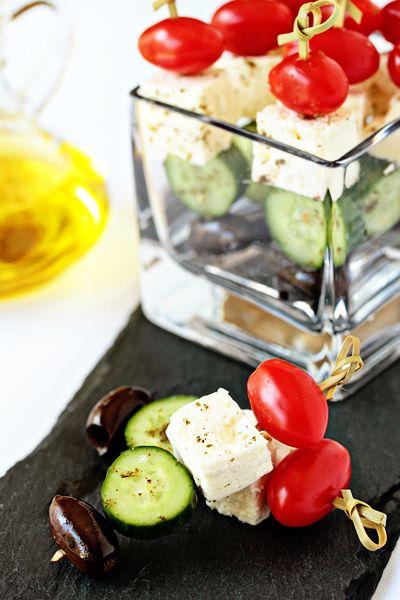 Greek salad skewers.