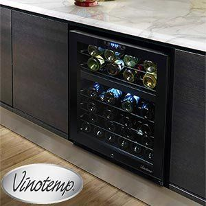 Vinotemp 46 Bottle Dual Zone Touch Screen Wine Cooler Black Cabinet with Glass Doors Digital Controler with LED Readout by Vinotemp. $950.00