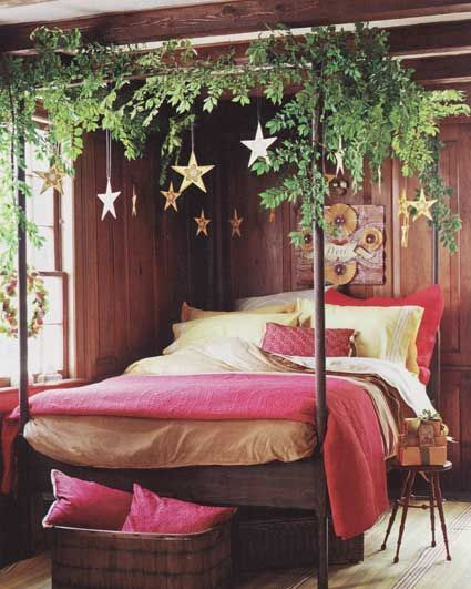 My idea of Christmas decor! I'd love to sleep in that four-poster bed with fragrant evergreen boughs wrapped around the canopy intermingled with golden hanging star ornaments. *happy #Romantic Life Style