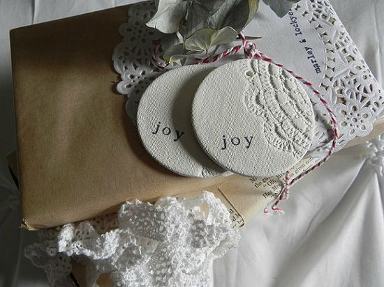 Clay tags imprinted with paper doily