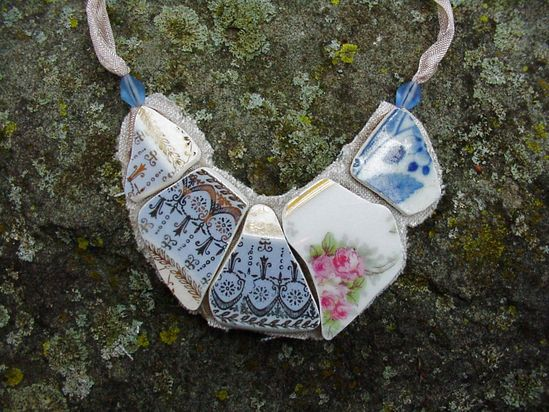 Broken China Jewelry bib style necklace Gothic blue and antique rose china shards on linen