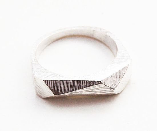 Silver Faceted Bar Ring by kerrieyeung on Etsy, $125.00