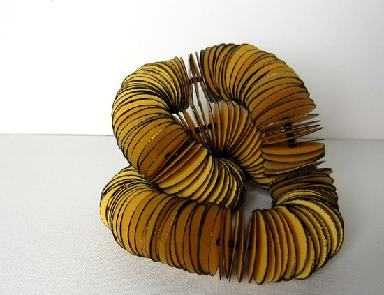Cardboard statement necklace  golden with black edge  made by Paper Statement