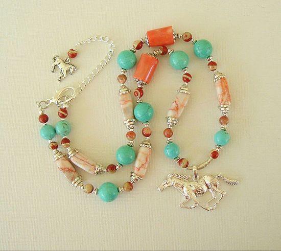 Boho Southwest Necklace Turquoise Jewelry American by BohoStyleMe