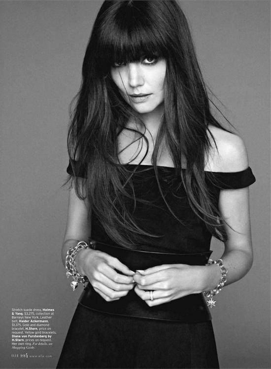 Katie Holmes for Elle magazine- black off the shoulder dress