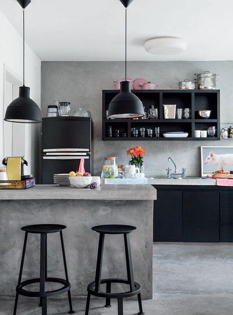A Small Pop Home in Brazil #design #interior #brazil #modern #concrete #decor #decoration #designidea #interioridea #kitchen