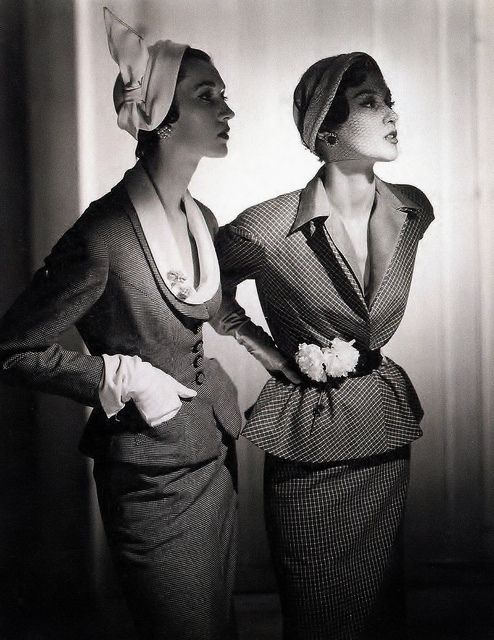 Dovima and Barb Mullen looking endlessly sophisticated in classic 1950s suit dresses. #vintage #1950s #models #fashion
