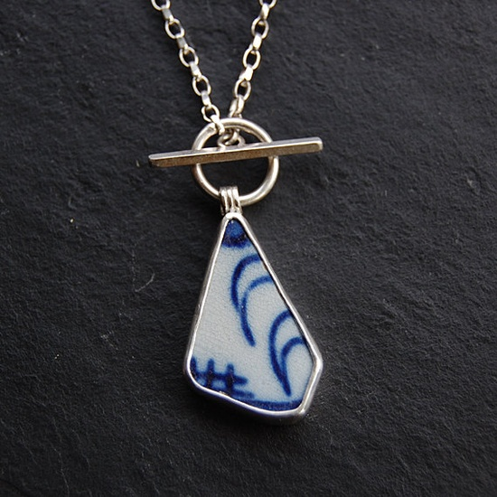 Pottery Shard jewelry - Blue and White Painted Shard Pendant in Silver. £38.00, via Etsy. love it! #ecrafty