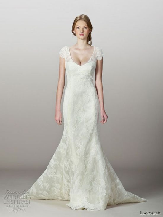 liancarlo fall 2013 wedding dress style 5832 corded chantilly lace mermaid gown cap sleeves