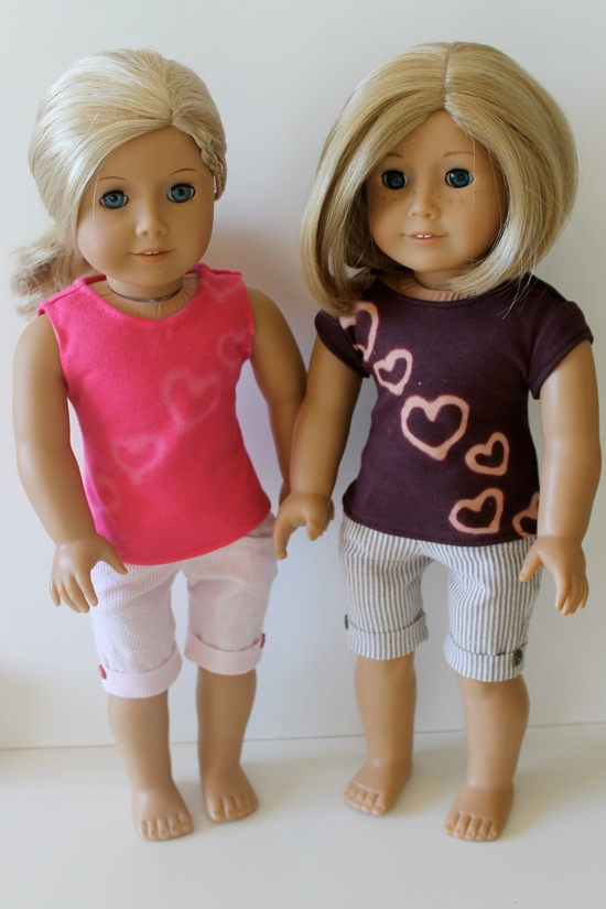 Cuffed Seersucker Shorts in Pink or Brown, for American Girl dolls. Adapted from Liberty Jane patterns