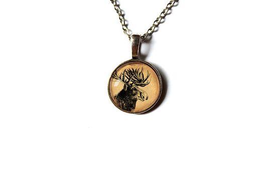 Cervidae charm Moose pendant Wild animal necklace by newwoodland, $12.00