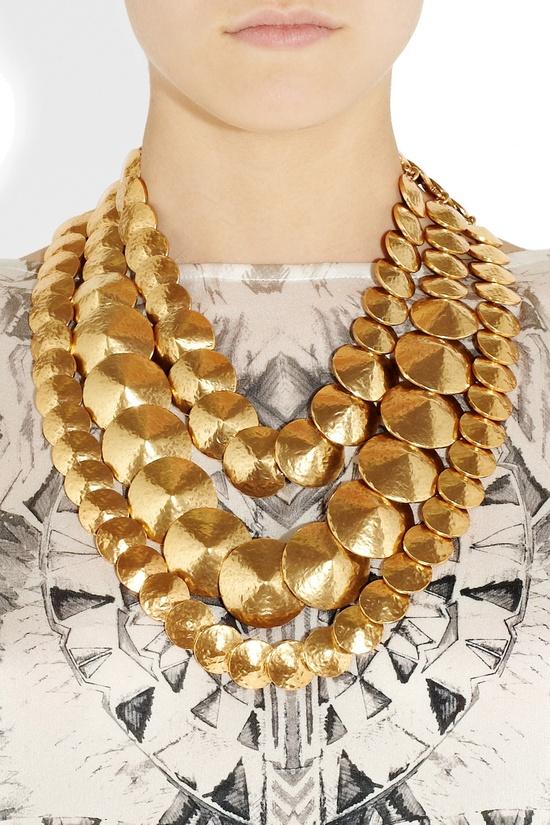 Oscar de la Renta gold necklace