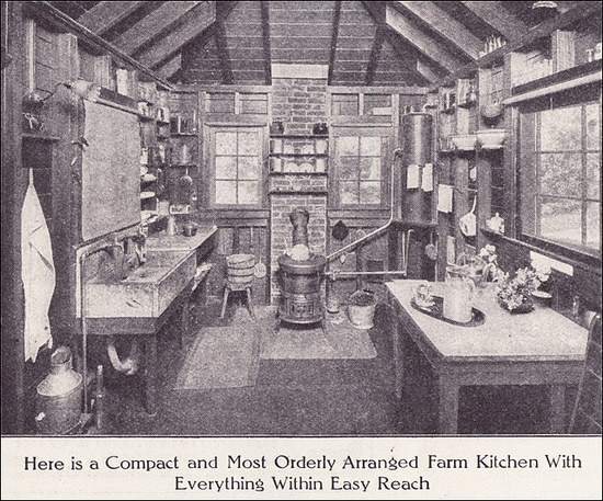 1911 Farm Kitchen by American Vintage Home, via Flickr  So many elements similar to our kitchen - chimney with hole for a wood burning cook stove, surrounded by two windows, room for a large double-basin mess sink, hooks & nooks!
