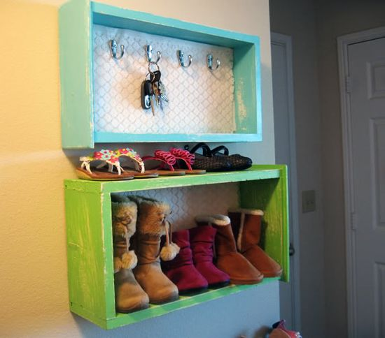 Old drawers turned into shelves.