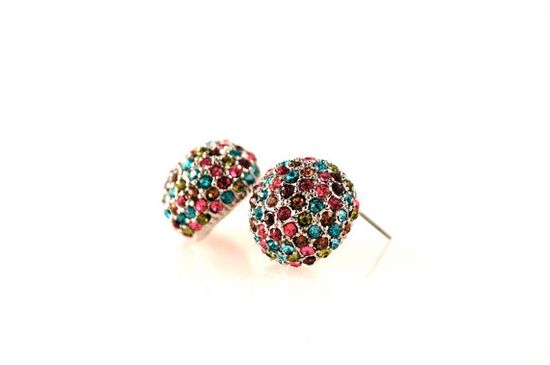 Multi Pave Dome Earrings