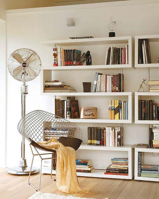 White, industrial home appliances, bookshelves