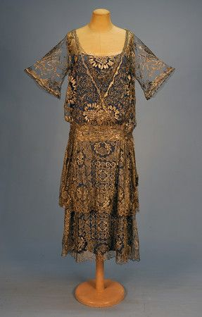 Silver Metallic-Lace Evening Dress, c. 1920