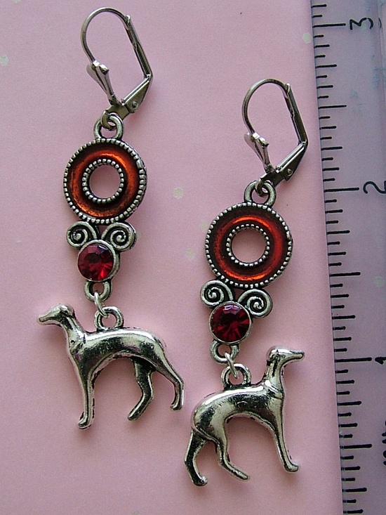 Silver and Red  Greyhound  or Whippet Earrings. $14.00, via Etsy.