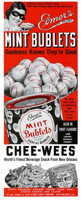 Elmer's Mint Bublets - goodness knows they're good! #vintage #1940s #food #candy #ads