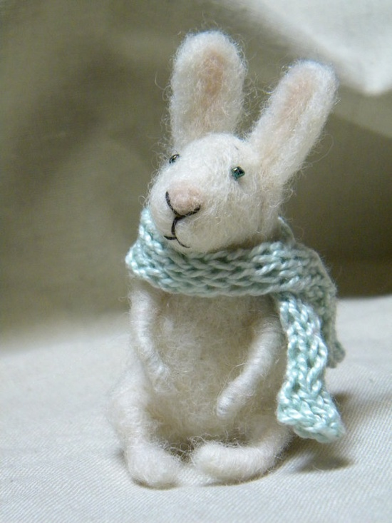 hand felted bunny with scarf
