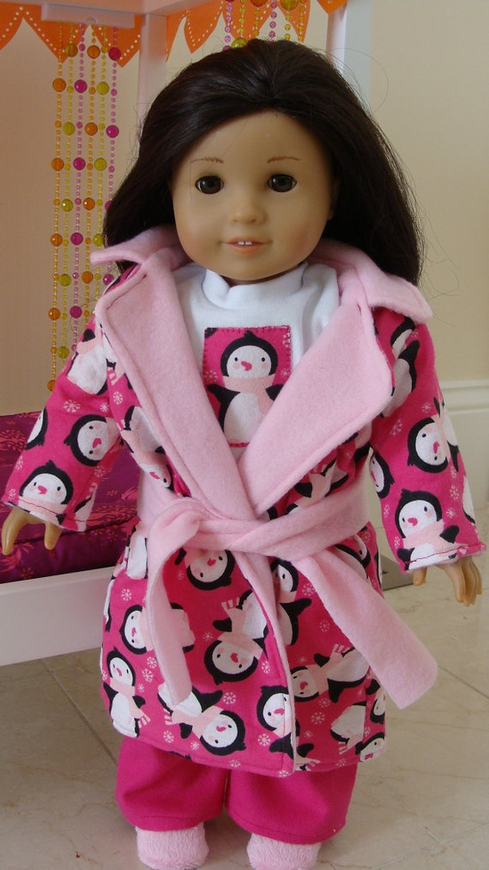 Pink Penquin robe and PJ's