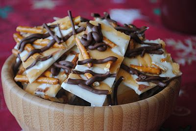 Salted Caramel Bark- white chocolate topped with salted caramel sauce, milk chocolate and pretzels. Sweet and Salty! @ellen burgess and @emily burgess