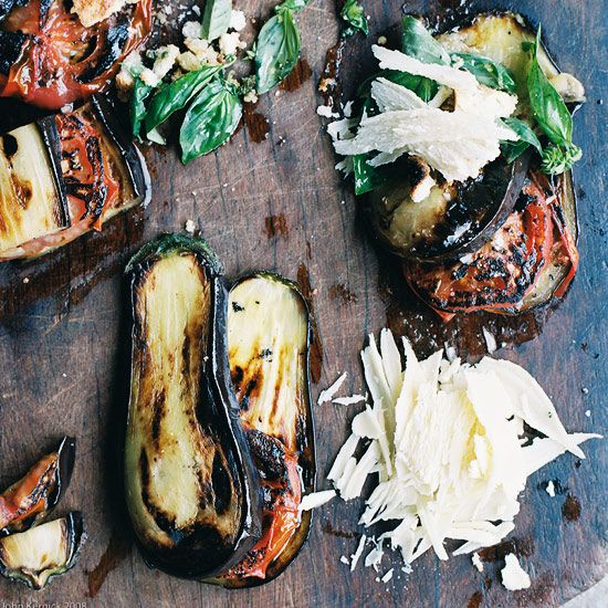 Grilled Eggplant and Tomatoes with Parmesan-Basil Crumbs // More Tasty Grilled Vegetables: www.foodandwine.c... #foodandwine