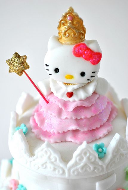 Princess Hello Kitty made from fondant icing, via Flickr.